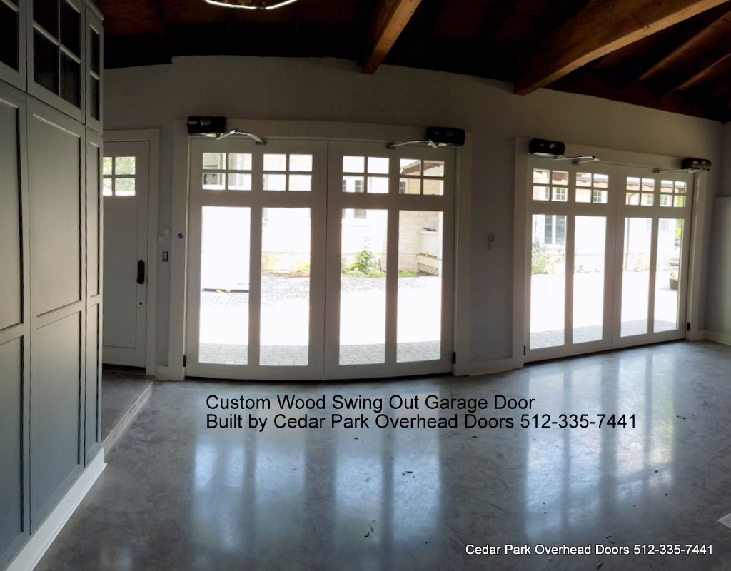 Custom swing out garage doors cedar park overhead doors for Cedar park overhead garage doors